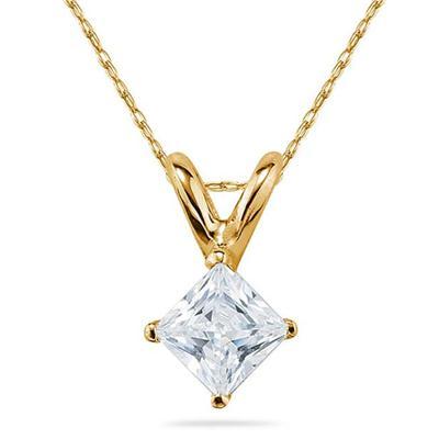 3/4 Carat Princess Diamond Solitaire Pendant in 14K Yellow Gold