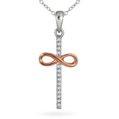 1/10 Carat Diamond Infinity Cross Pendant in Two Tone 10K Gold