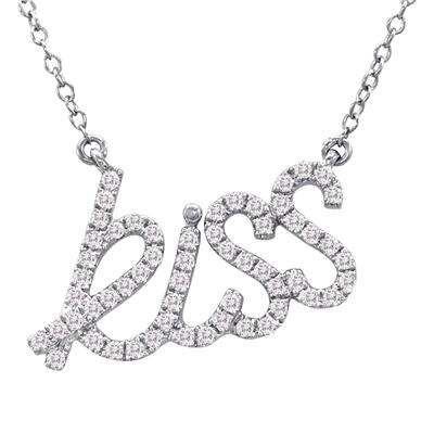 1/3 Carat Diamond KISS Pendant in .925 Sterling Silver