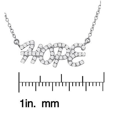 1/3 Carat Diamond HOPE Necklace in .925 Sterling Silver