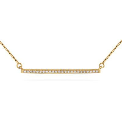 1/4 Carat 18K Yellow Gold Plated Diamond Trapeze Bar Pendant in .925 Sterling Silver