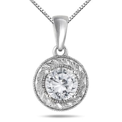 1 Carat Round Antique Engraved Diamond Solitaire Pendant in 14K White Gold