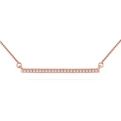 1/10 Carat Diamond Trapeze Bar Pendant in 18K Rose Gold Plated .925 Sterling Silver