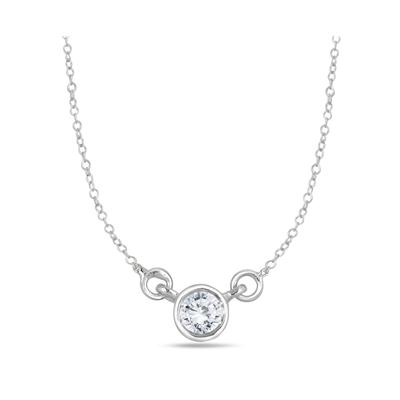 1/4 Carat Diamond Bezel Pendant in 14K White Gold