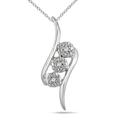 Three Stone Diamond Swirl Pendant in .925 Sterling Silver
