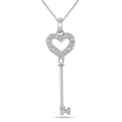 Diamond Key Pendant in .925 Sterling Silver