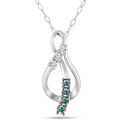 Blue and White Diamond Twist Pendant in .925 Sterling Silver