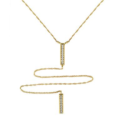Double Bar Diamond Lariat in 10K Yellow Gold