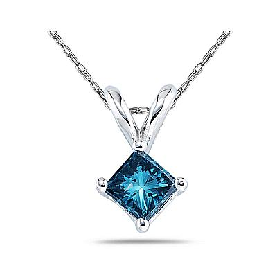 Blue Diamond Princess Cut Pendant in 14K White Gold