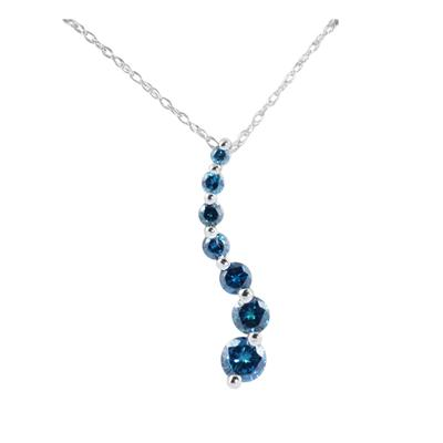 1/2 Carat Blue Diamond Journey Pendant in 14K White Gold