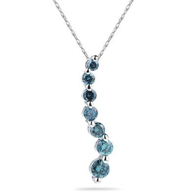 1.00 Carat Blue Diamond S Journey Pendant in 14k White Gold