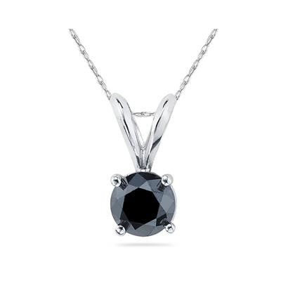 1.00ct.tw Round Black Diamond Solitaire Pendant in 14K White Gold Rope Chain