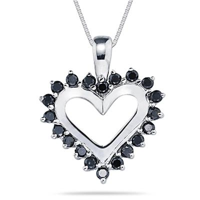 Black Diamond Heart Pendant in 14K White Gold