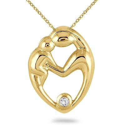 Mother and Baby Diamond Pendant 10K Yellow Gold