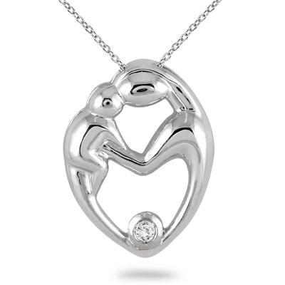 Mother and Baby Diamond Pendant 10K White Gold