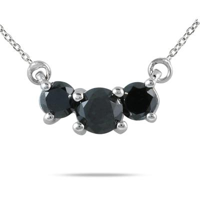 1/2 Carat TW Black Diamond Three Stone Pendant Necklace 14K White Gold