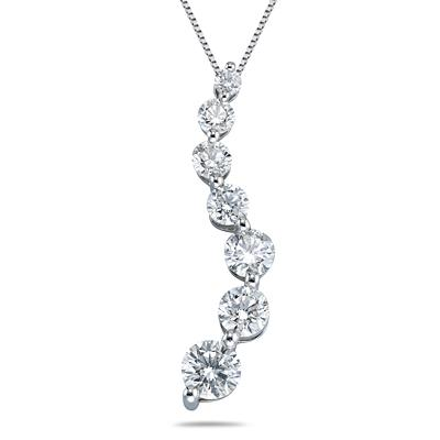 1/2 Carat Diamond Journey Pendant in 14K White Gold (H-I, SI2-SI3)