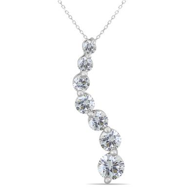 1 Carat Diamond Journey Pendant in 14K White Gold
