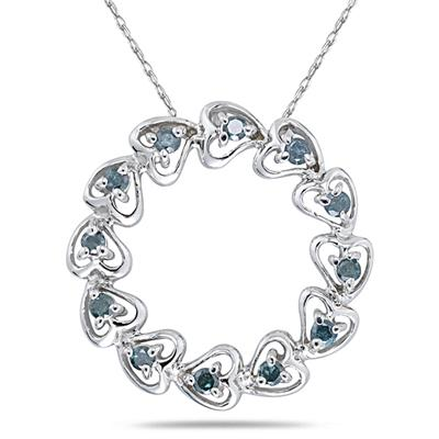 1/4 Carat Blue Diamond Circle Heart Pendant in 10K White Gold