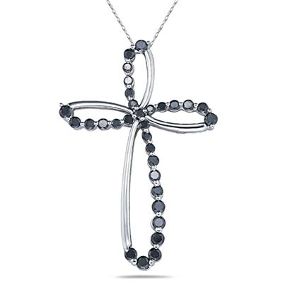 1.00CTW Black Diamond Cross Pendant in White Gold