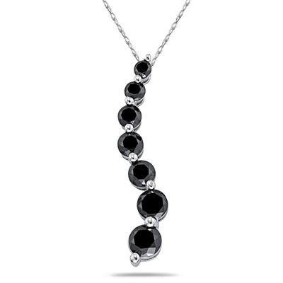 1.00CTW Black Diamond Journey Pendant in 14K White Gold