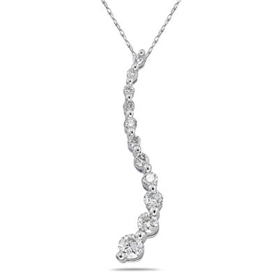 1/2ctw Diamond Journey Pendant in White Gold