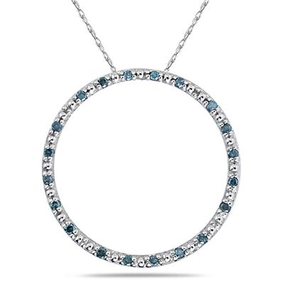 Blue Diamond Circle Pendant in White Gold