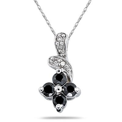Black & White Diamond Flower Pendant in White Gold