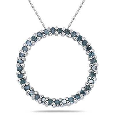 1/2 Carat Blue Diamond Circle Pendant in White Gold