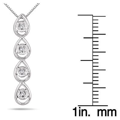 Dimaond Tear Drop Pendant in White Gold