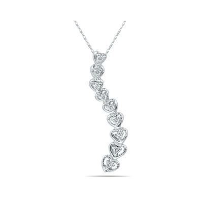 1/10 Carat Diamond Heart Journey Pendant in White Gold