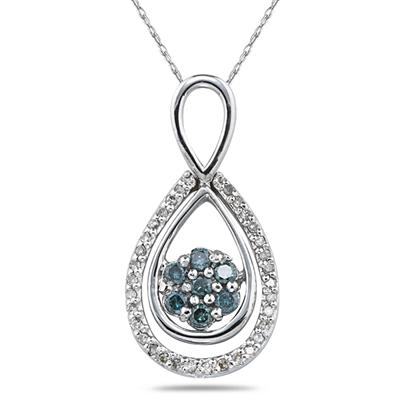 1/3 Carat Blue and White Diamond Flower Drop Pendant in 10K White Gold