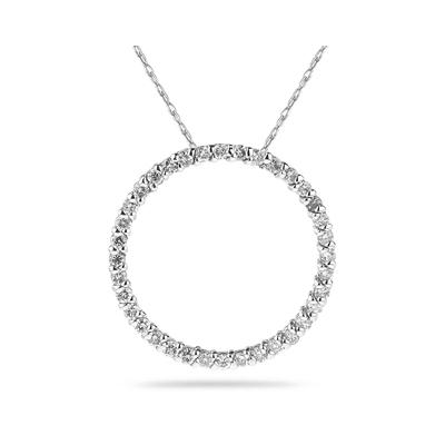 1/2 Carat Diamond Circle Pendant in 14K White Gold