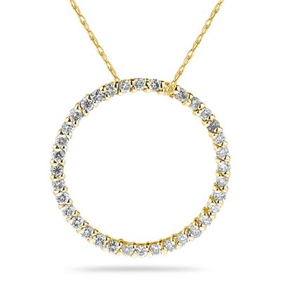 1/2 Carat Diamond Circle Pendant in 14K Yellow  Gold