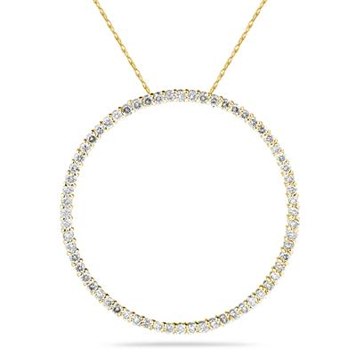 1.00ctw Diamond Circle Pendant in 14K Yellow  Gold