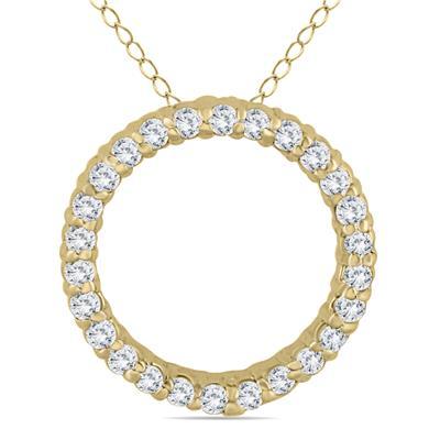 1/3 Carat TW Diamond Circle Pendant in 14K Yellow Gold