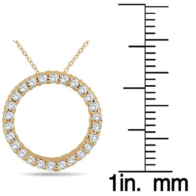 1/3 Carat Diamond Circle Pendant in 14K Yellow  Gold