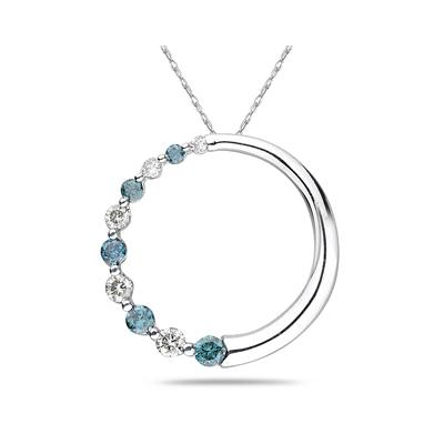 Blue And White Diamond Circle Journey  Pendant 14k White Gold