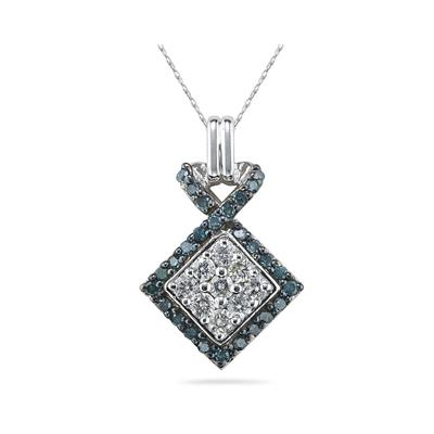 Blue and White Diamond Pendent in 14K White Gold