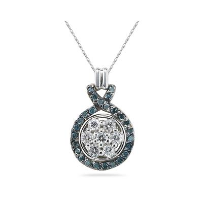 Blue and White Diamond  Pendant in 14K White Gold