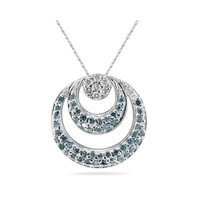 Blue and White Diamond Circle Pendant in 14K White Gold