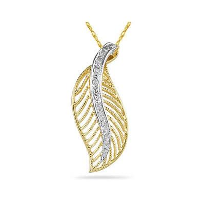 Diamond Leaf Pendant in 14k Yellow Gold