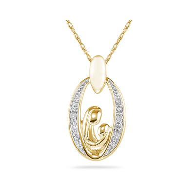 Mother and Baby Diamond Pendant 14K Yellow Gold