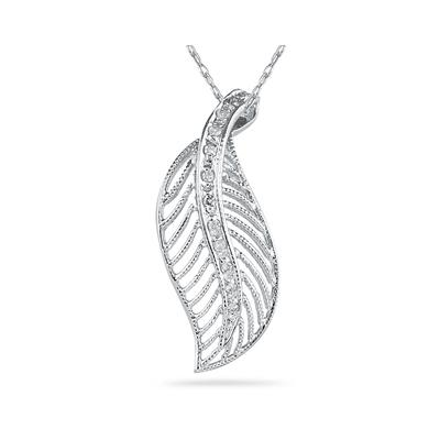 Diamond Leaf Pendant in 14K White Gold