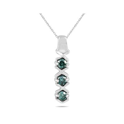 Three Stone Blue Diamond Pendant in 10K White Gold