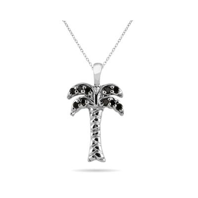 Black Diamond Palm Tree Pandant in 10K White Gold
