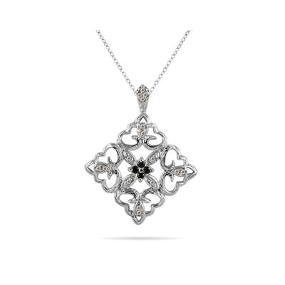 Black And White Diamond Antique Pendant 10k White Gold