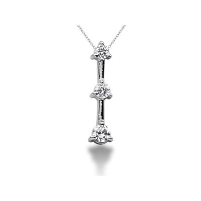 0.25CTW Classic Three Prong Three Stone Diamond Pendant in 18k White Gold