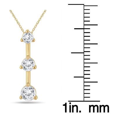 1/2 Carat TW Three Stone Diamond Pendant in 10k Yellow Gold