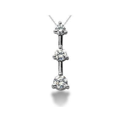 0.50CTW Classic Three Prong Three Stone Diamond Pendant in Platinum